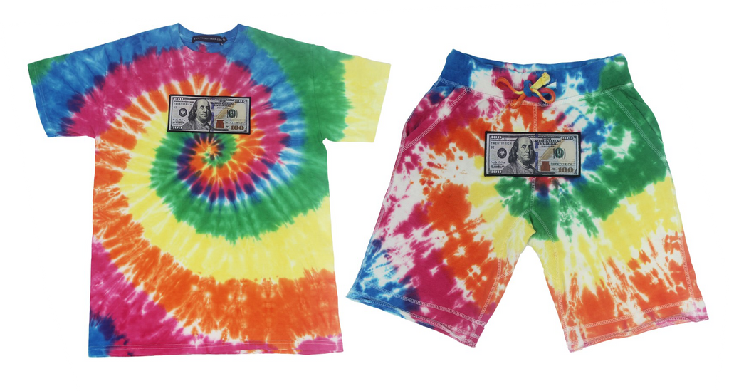 Blue Hundreds Tie Dye Set
