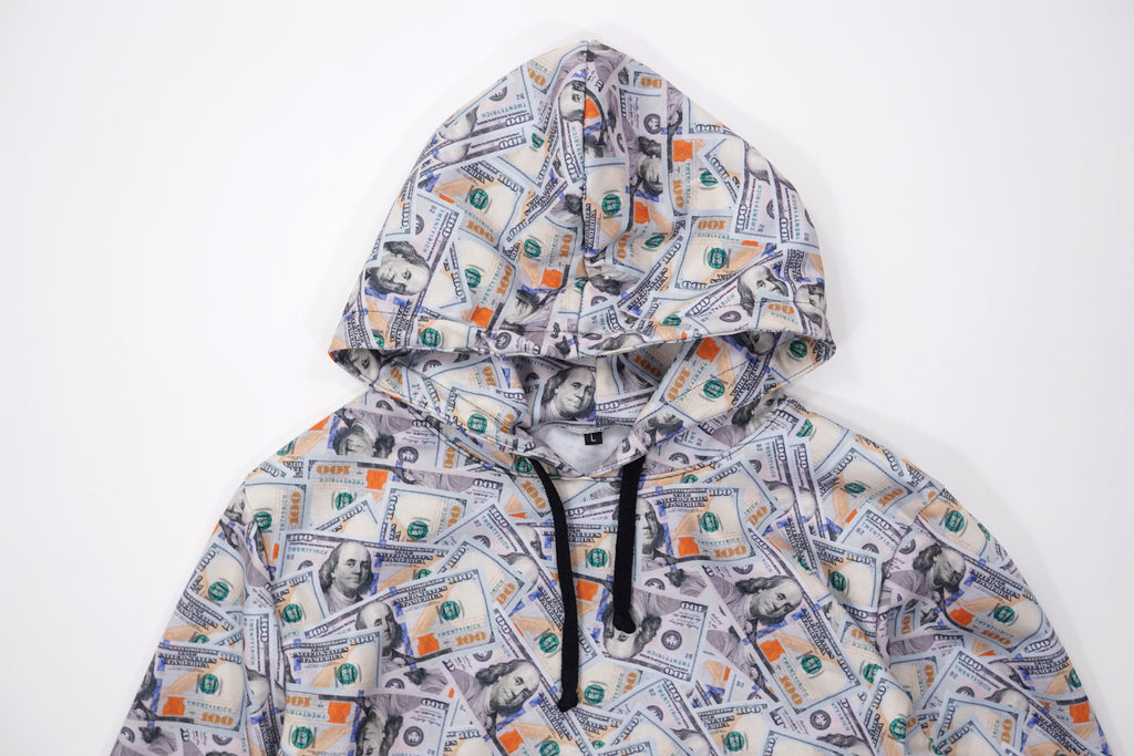 'Blue Hundreds' Collage Pullover Hoodie