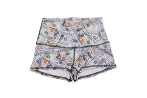 'Blue Hundreds' Collage Yoga Shorts