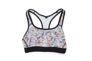 'Blue Hundreds' Collage Sports Bra