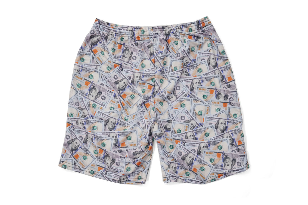 'Blue Hundreds' Collage Athletic Shorts