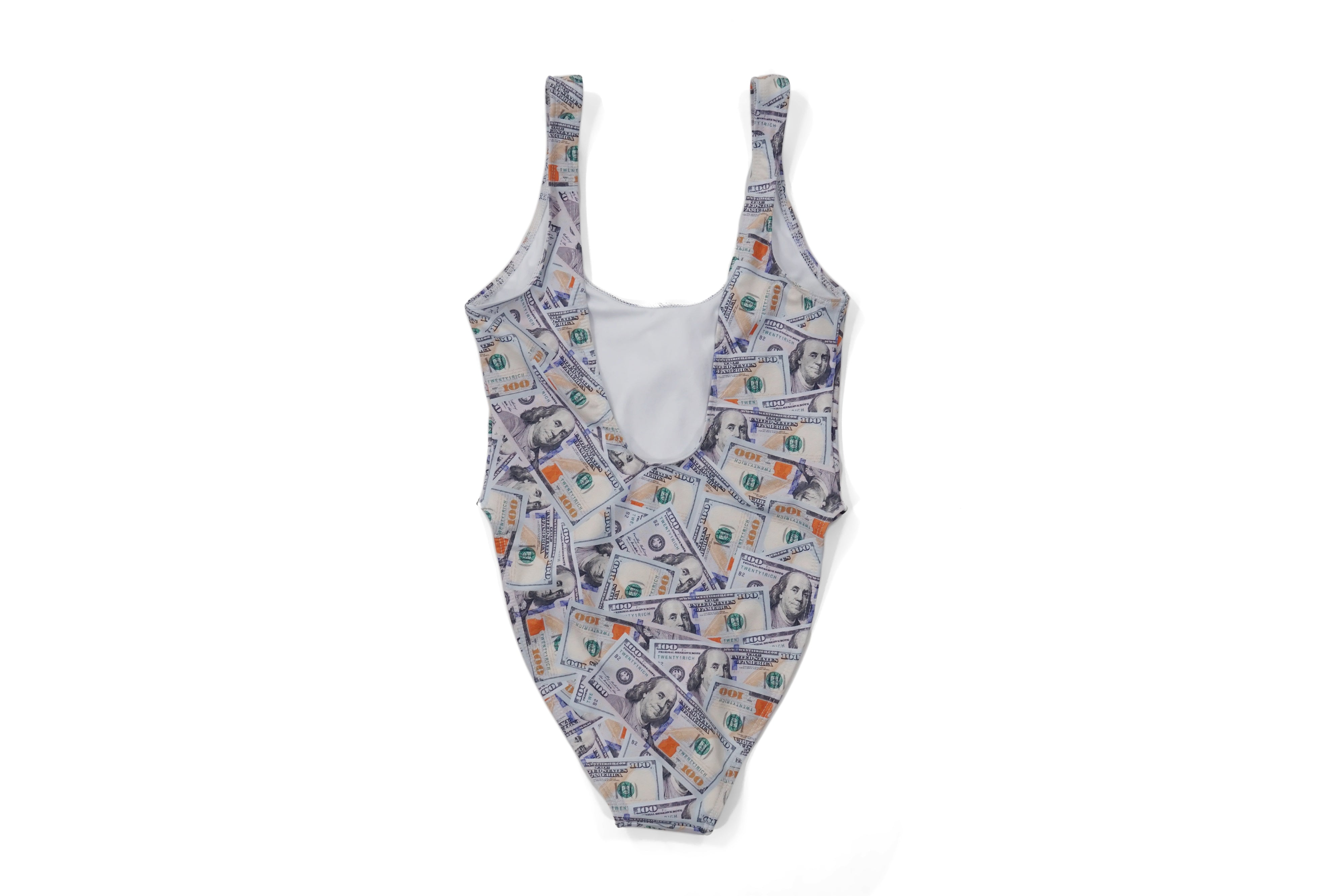 'Blue Hundreds' Collage Hi-Cut Swimsuit
