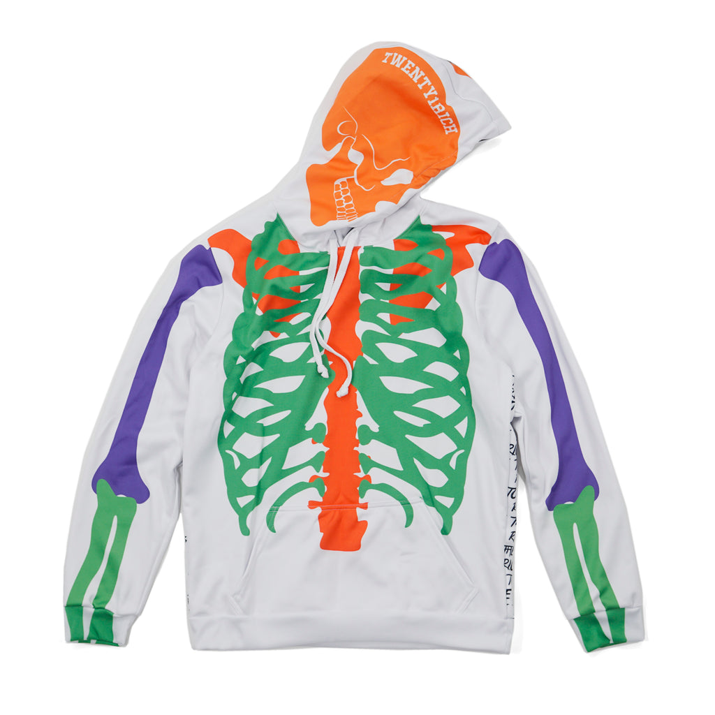 Rich to the Bones White Hoodie by Twenty1Rich (Front)
