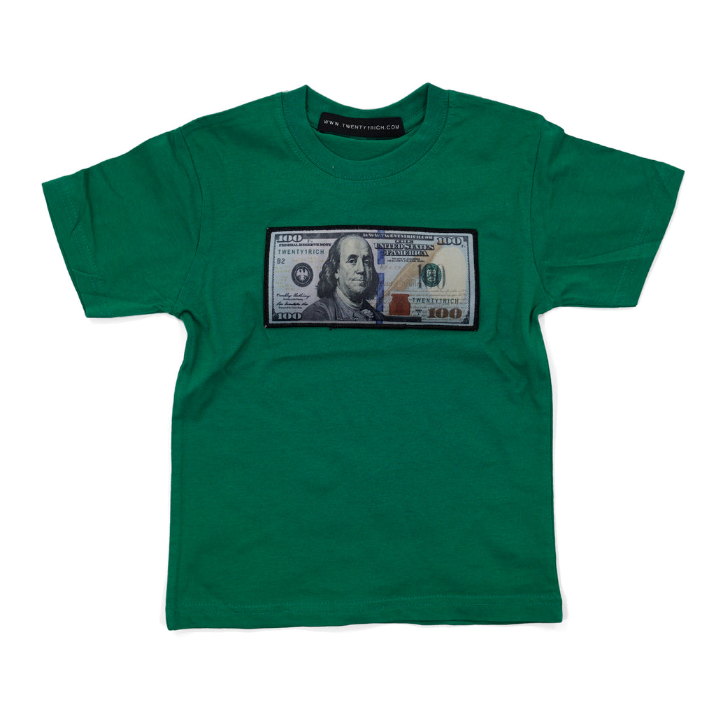 Green Infant Tee by Twenty1Rich with a $100 logo