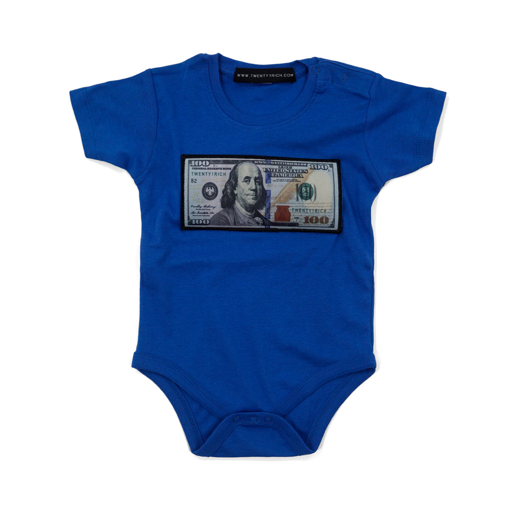 Blue 'Blue Hundreds' Baby Onesie by Twenty1Rich with a $100 logo