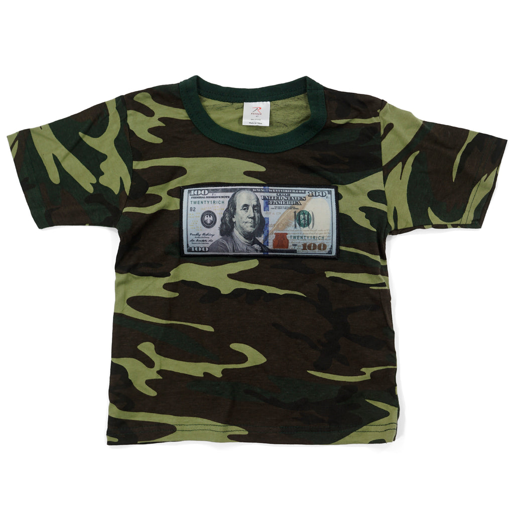 Camo Infant Tee by Twenty1Rich with a $100 logo