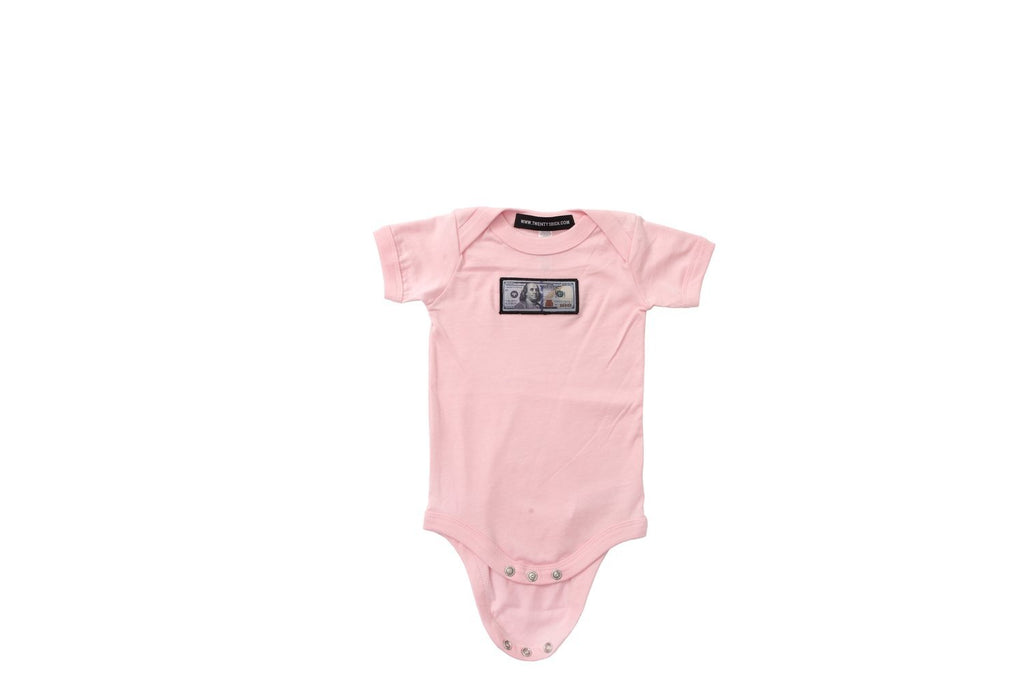 Pink 'Blue Hundreds' Baby Onesie by Twenty1Rich with a $100 logo