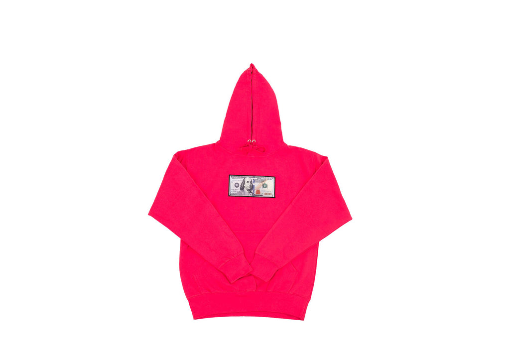 Hot Pink Blue Hundreds Hoodie by Twenty1Rich with a $100 Blue Hundred Dollar Bill logo, Front Kangaroo Pocket, Cotton, Polyester, and Drawstring Hood