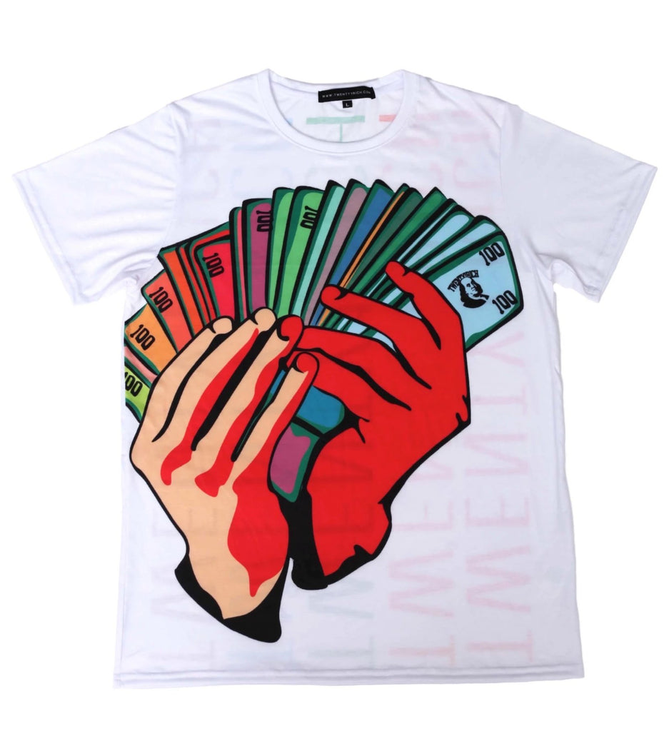 Money Fan White Crew Neck Tee