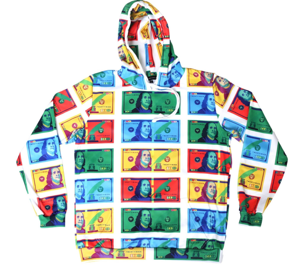 Color Money White Pullover Hoodie