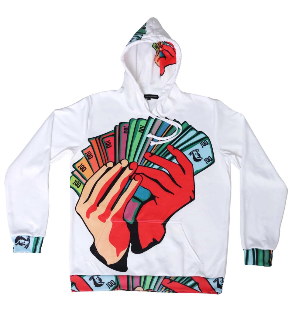 Money Fan White Pullover Hoodie
