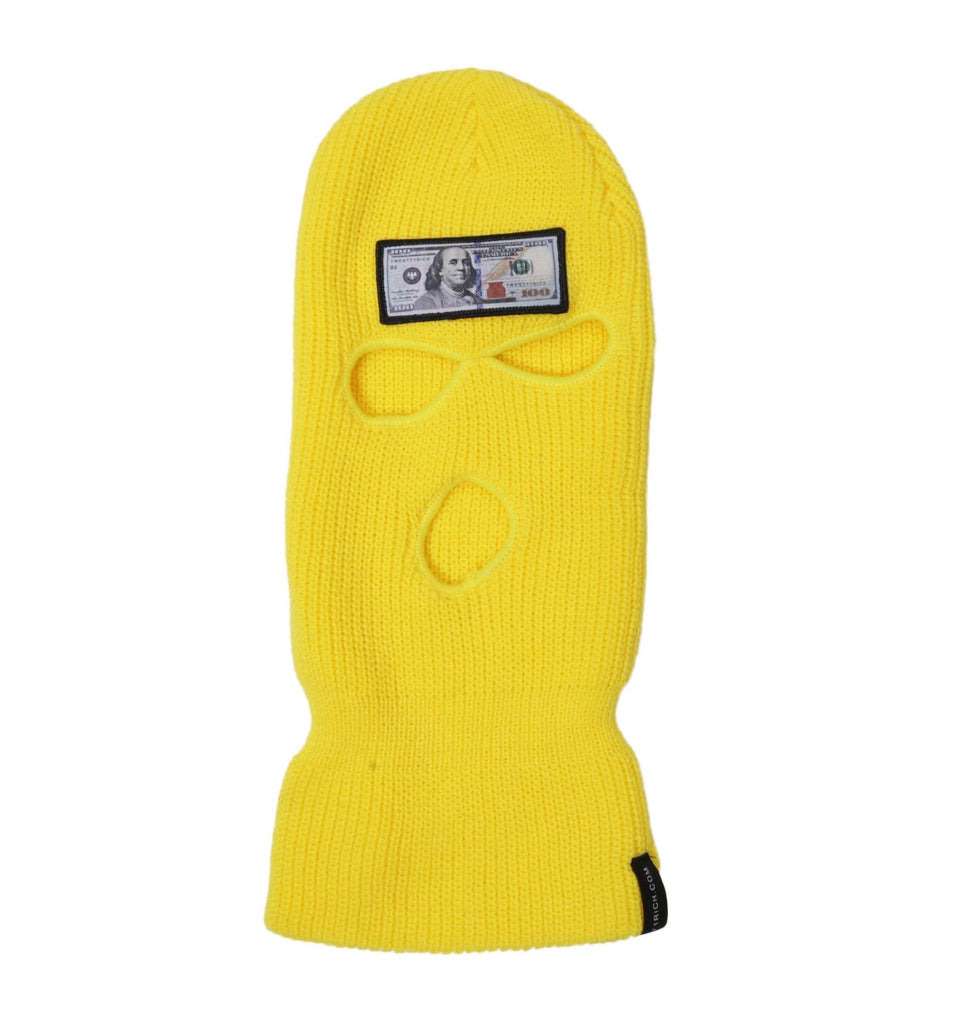 Blue Hundreds Yellow Ski Mask (3 Hole)