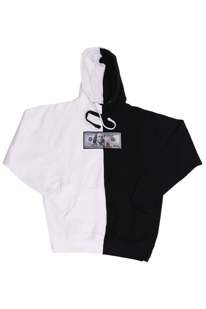 Black & White Split Color Hoodie by Twenty1Rich
