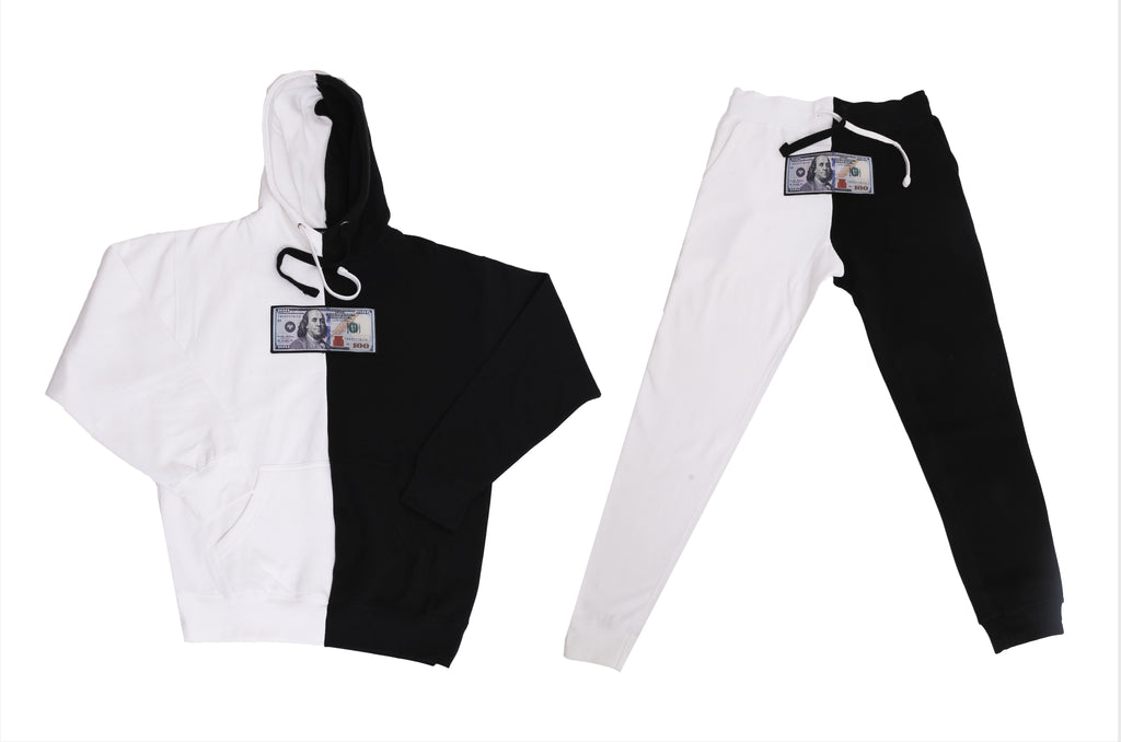 Black & White Split Color Jogger Set by Twenty1Rich with a $100 logo