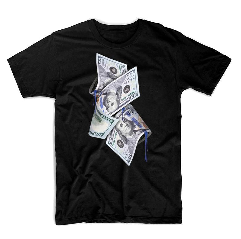 Black Tee by Twenty1Rich with a $100 bills print