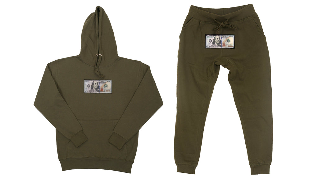 "Olive ""Blue Hundreds"" Hoodie and Jogger Set by Twenty1Rich with $100 logo"