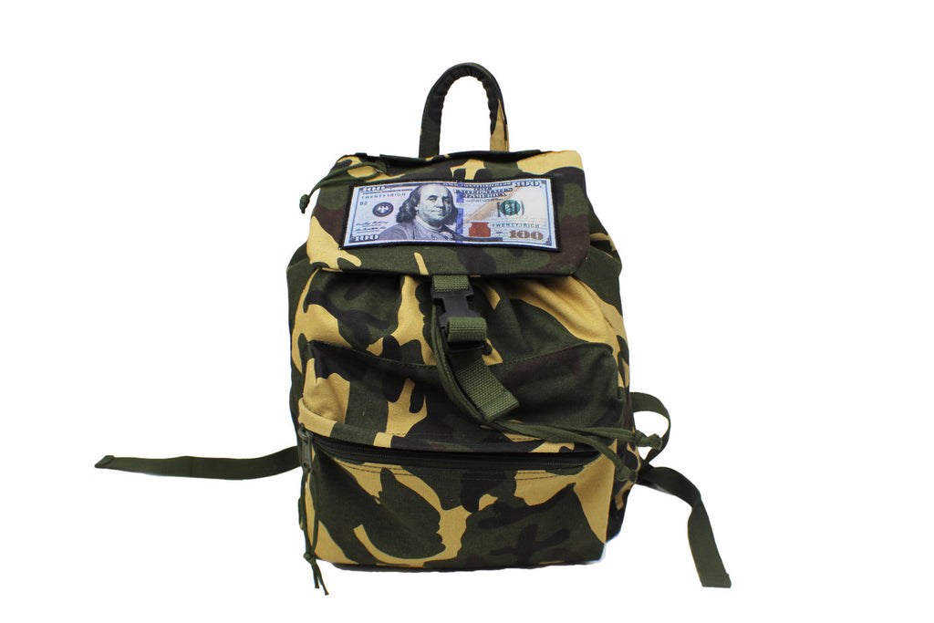 'Blue Hundreds' Camo Flap Backpack