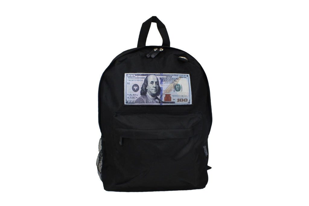 Black 'Blue Hundreds' Backpack by Twenty1Rich