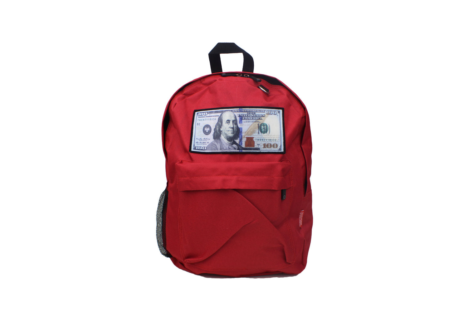Red 'Blue Hundreds' Backpack by Twenty1Rich