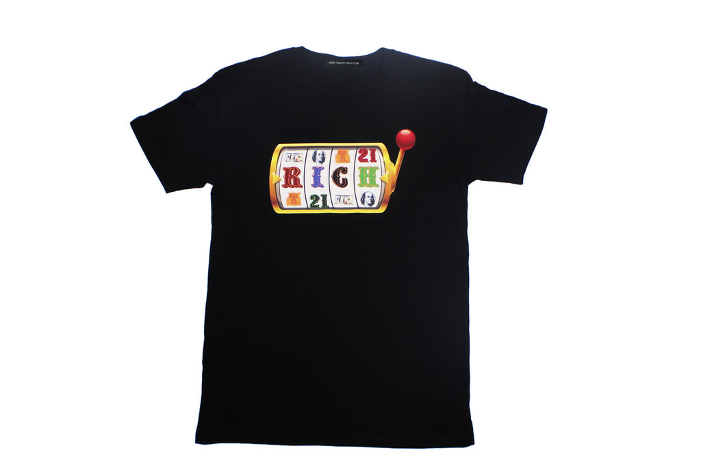 Black Tee by Twenty1Rich with a Slot Machine RICH logo