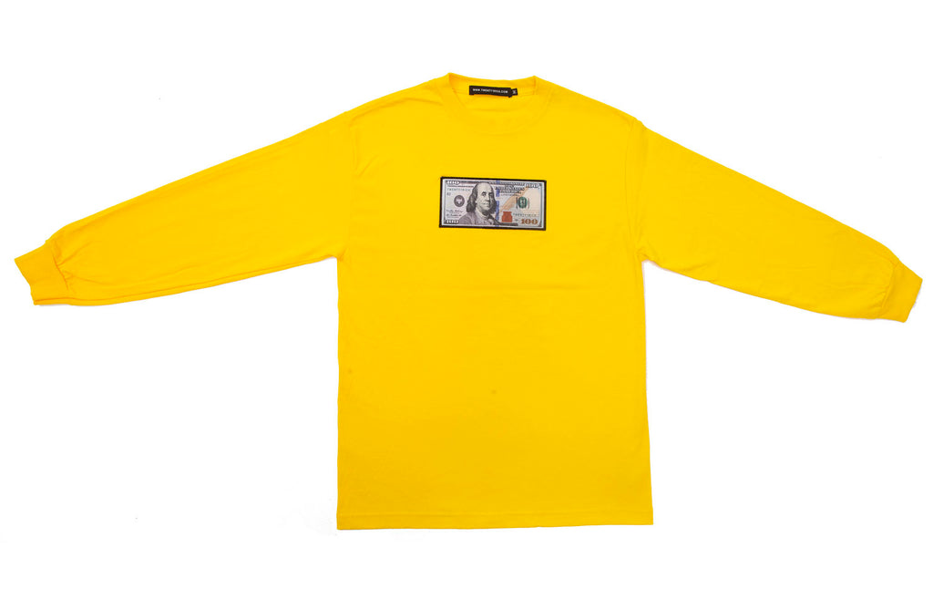 Yellow Long Sleeve Shirt by Twenty1Rich with a $100 logo