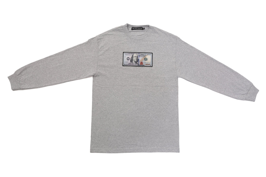 Grey Long Sleeve Shirt by Twenty1Rich with a $100 logo