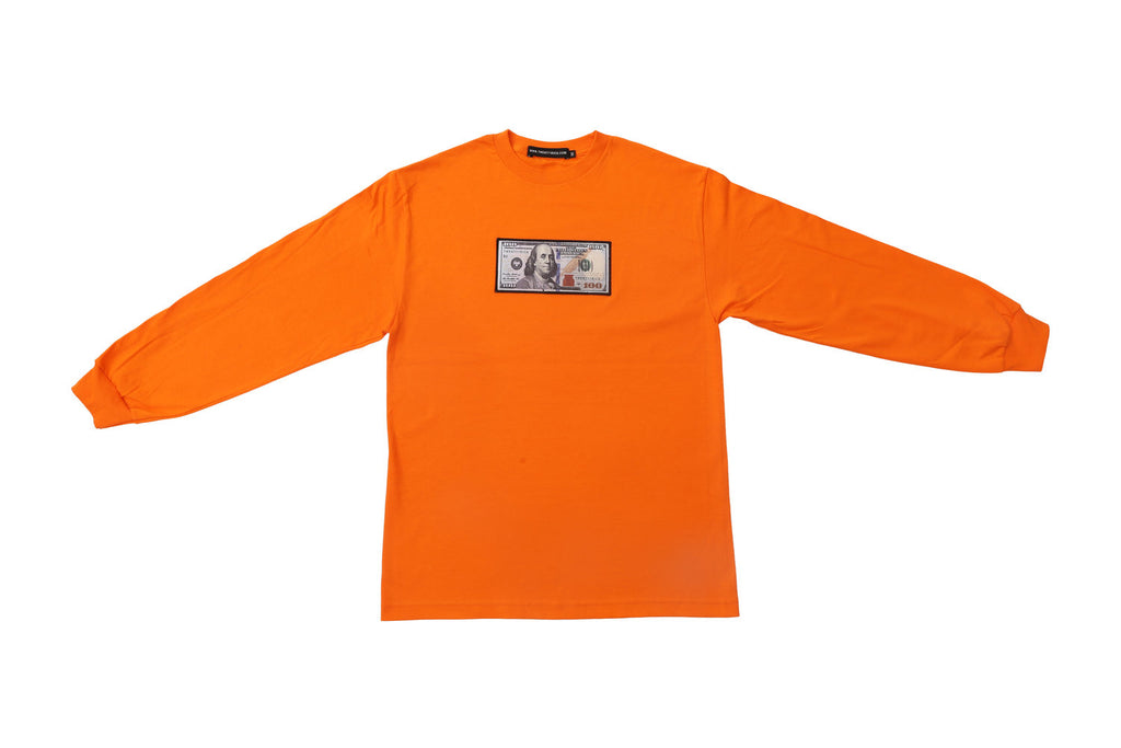 Orange Long Sleeve Shirt by Twenty1Rich with a $100 logo