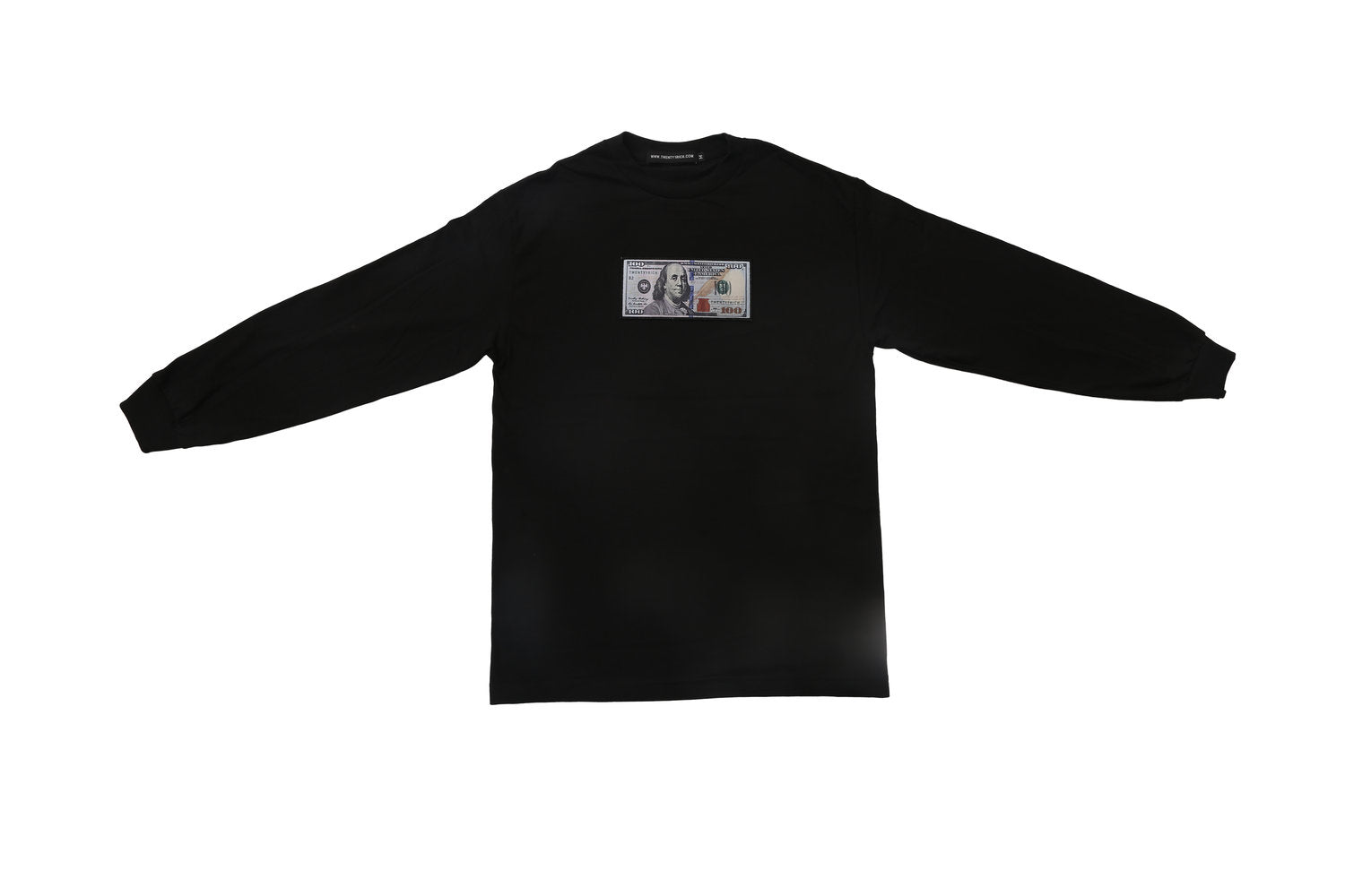 Black Long Sleeve Shirt by Twenty1Rich with blue hundred logo