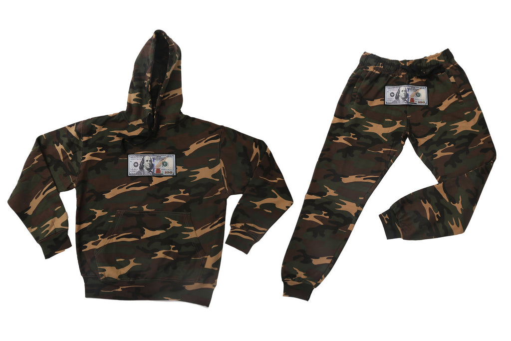 Camo Hoodie and Joggers Set by Twenty1Rich with a $100 logo