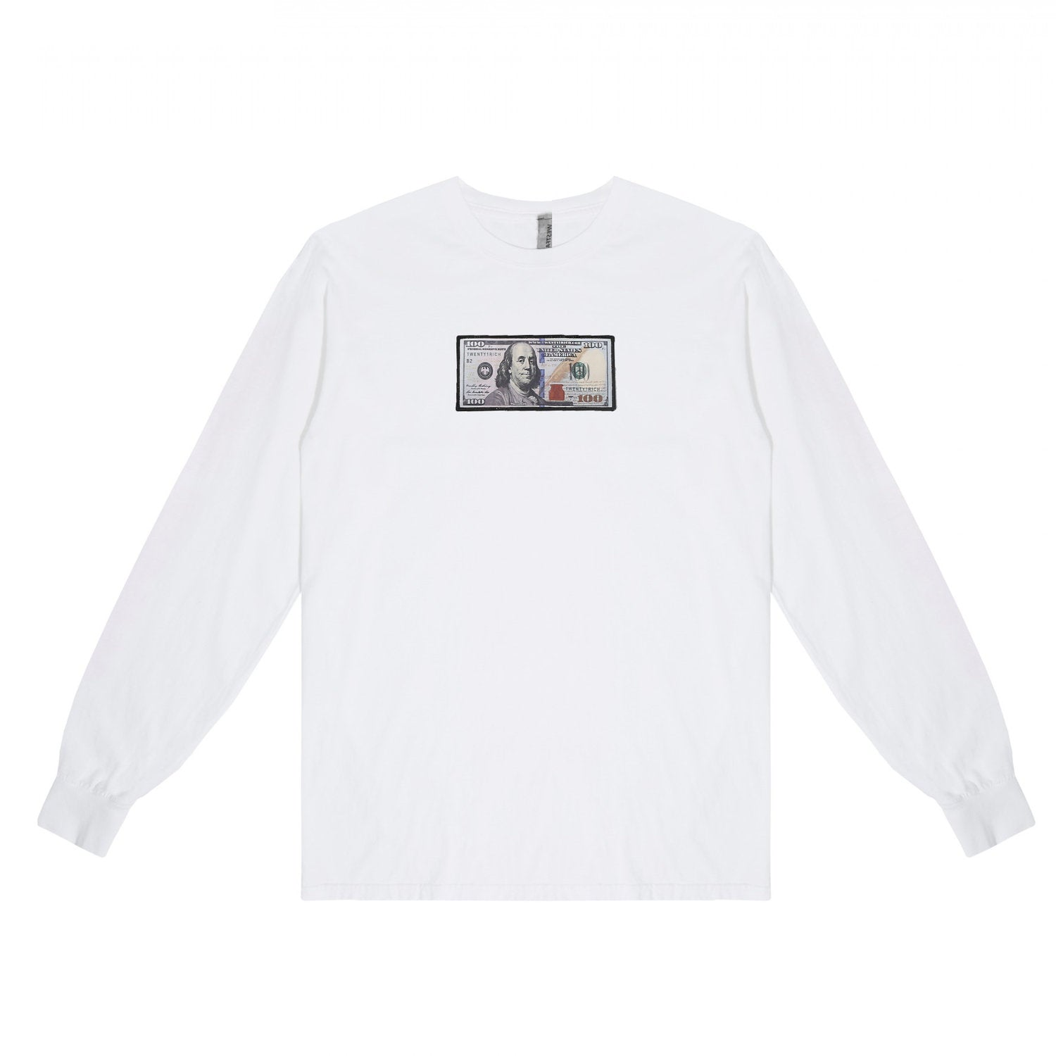 White Long Sleeve Shirt by Twenty1Rich with blue hundred logo