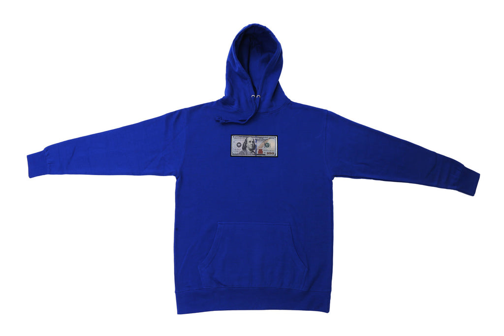 Royal Blue Hoodie Twenty1Rich with a $100 logo