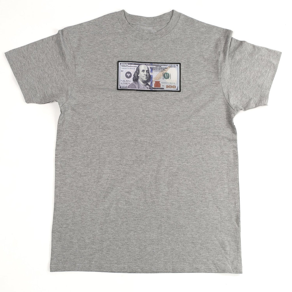 "Grey ""Blue Hundreds"" Tee by Twenty1Rich with $100 logo"