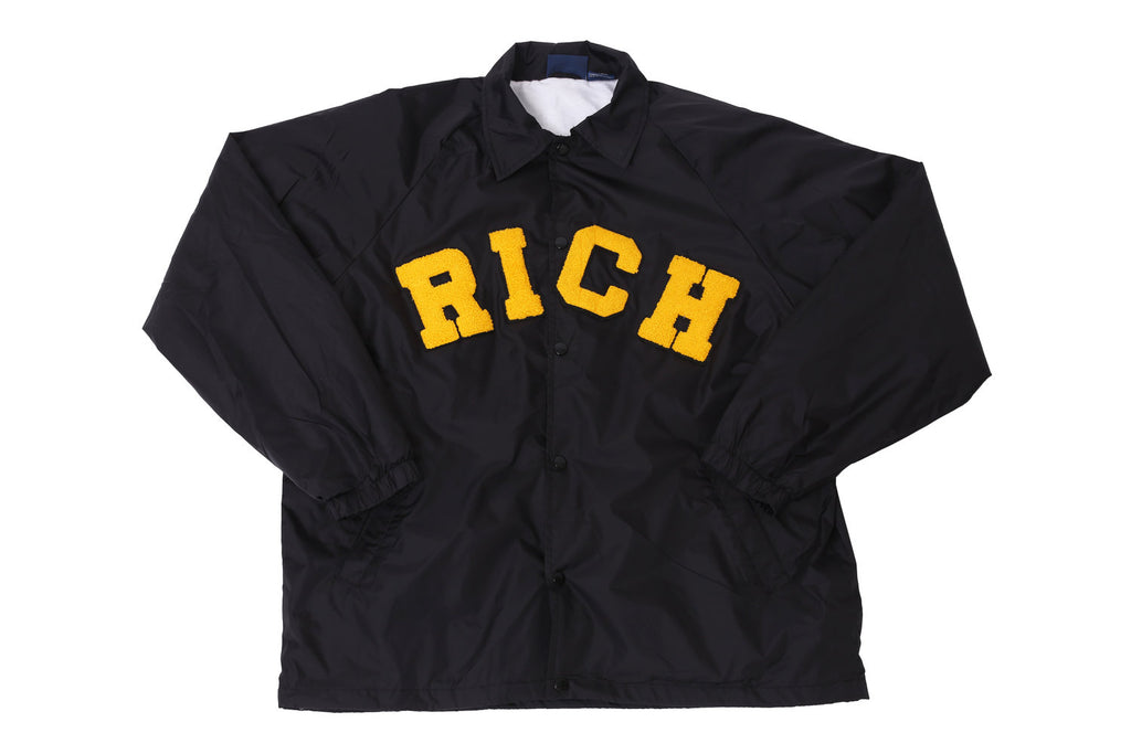 Black RICH Windbreaker Jacket by Twenty1Rich