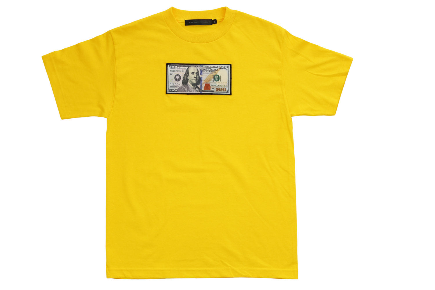 "Yellow ""Blue Hundreds"" Tee by Twenty1Rich with $100 logo"