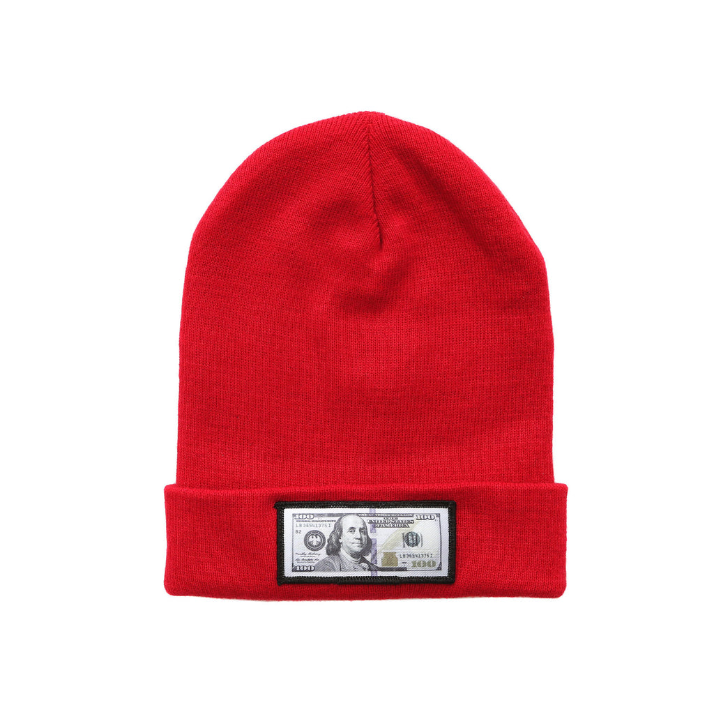 blue hundreds Red comfy beanie with $100 logo on front
