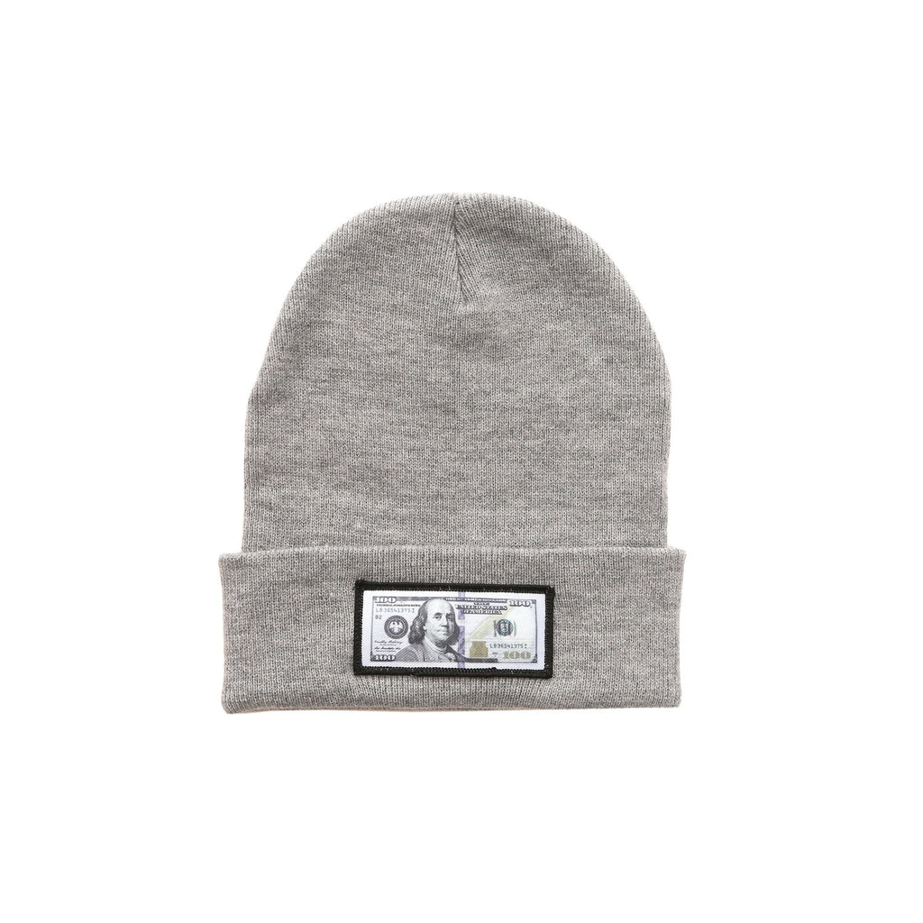 Grey comfy beanie with $100 logo on front