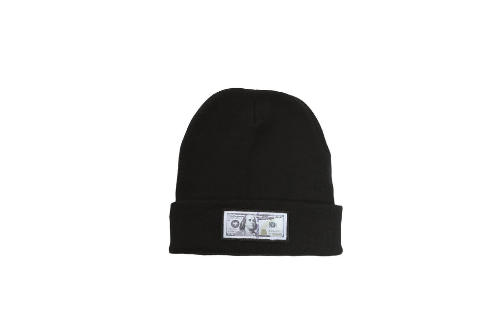Black comfy beanie with $100 logo on front