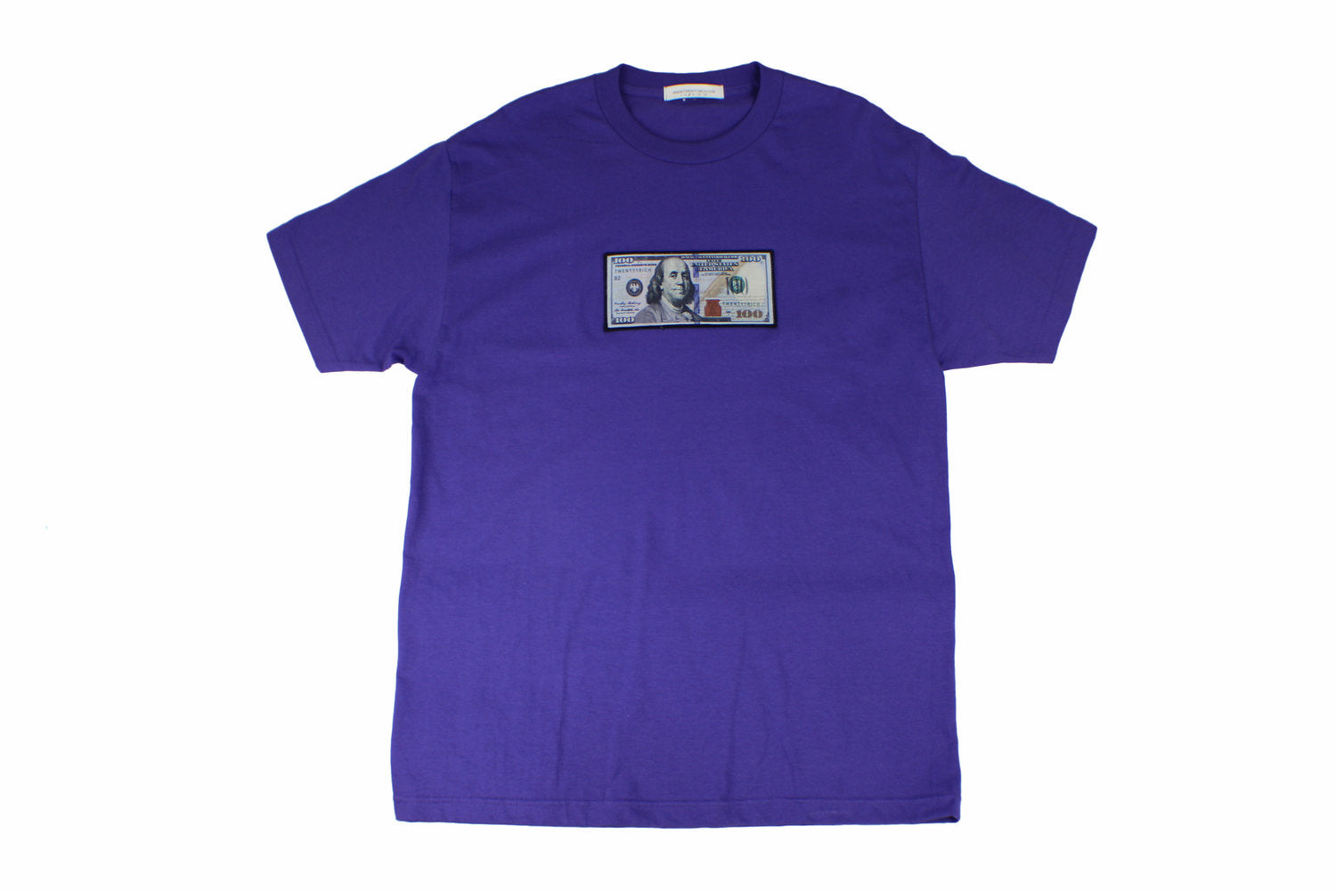 "Blue ""Blue Hundreds"" Tee by Twenty1Rich with $100 logo"