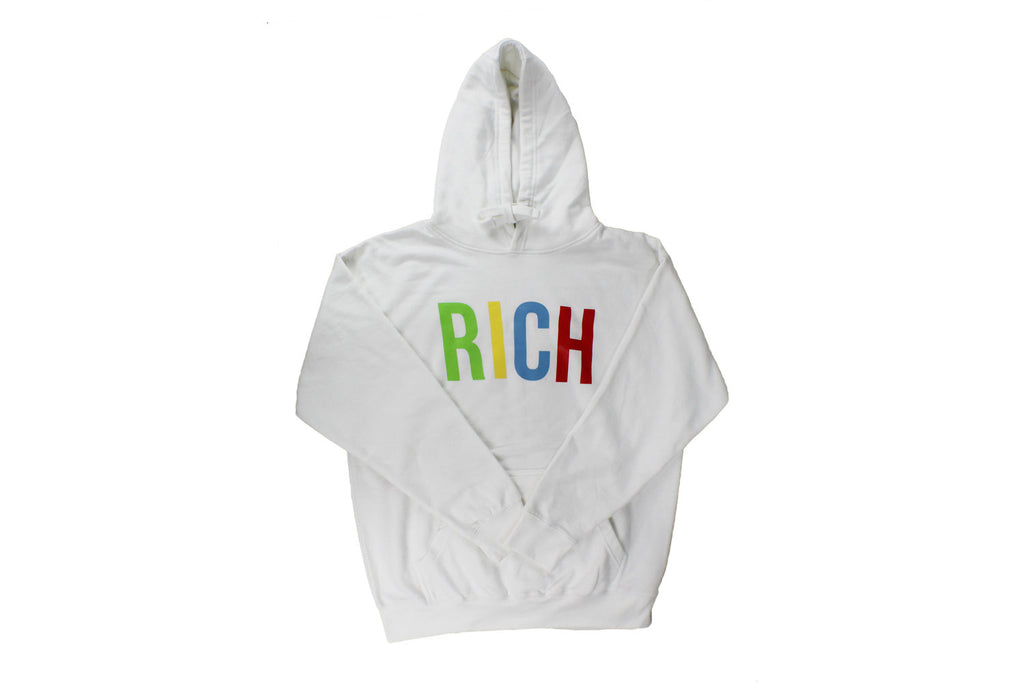 "White ""Rich"" Hoodie by Twenty1Rich"