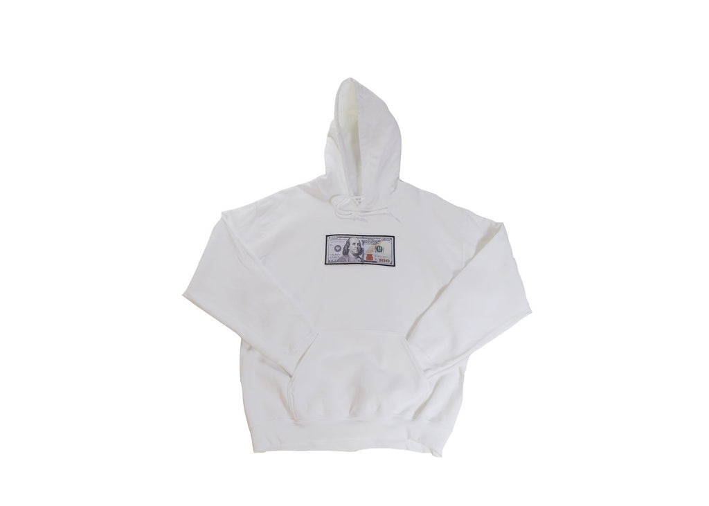 White Hoodie with a $100 logo