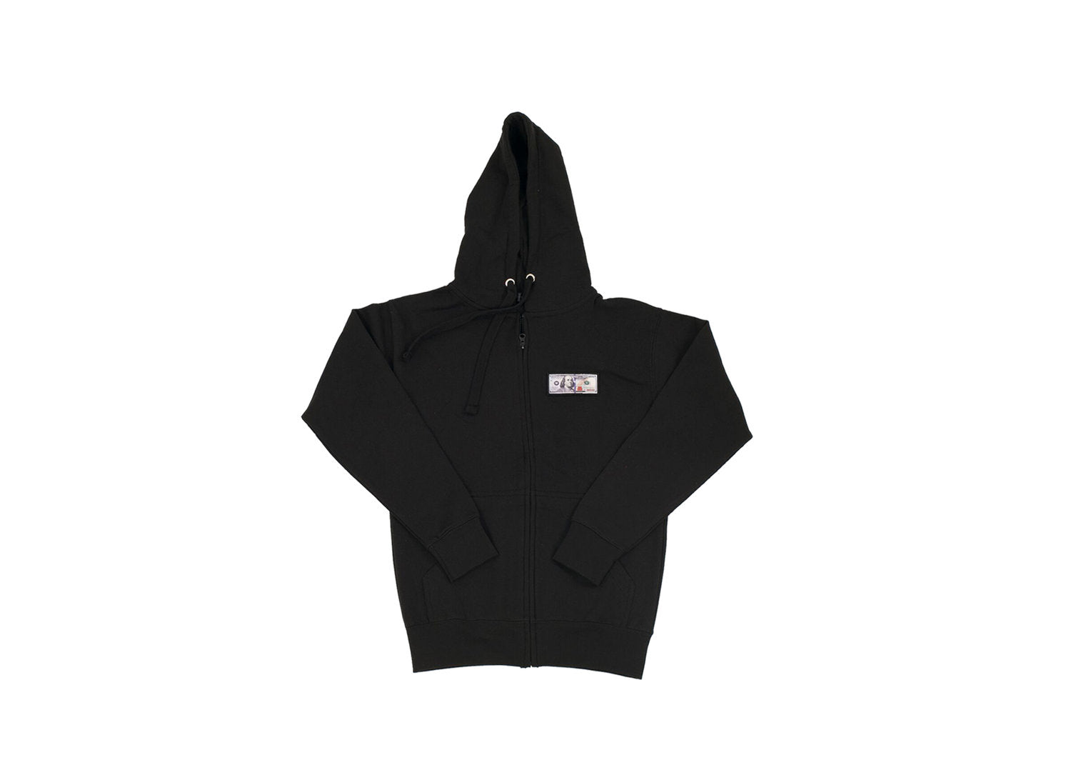 Black 'Blue Hundreds' Zip Up Hoodie by Twenty1Rich with a $100 logo