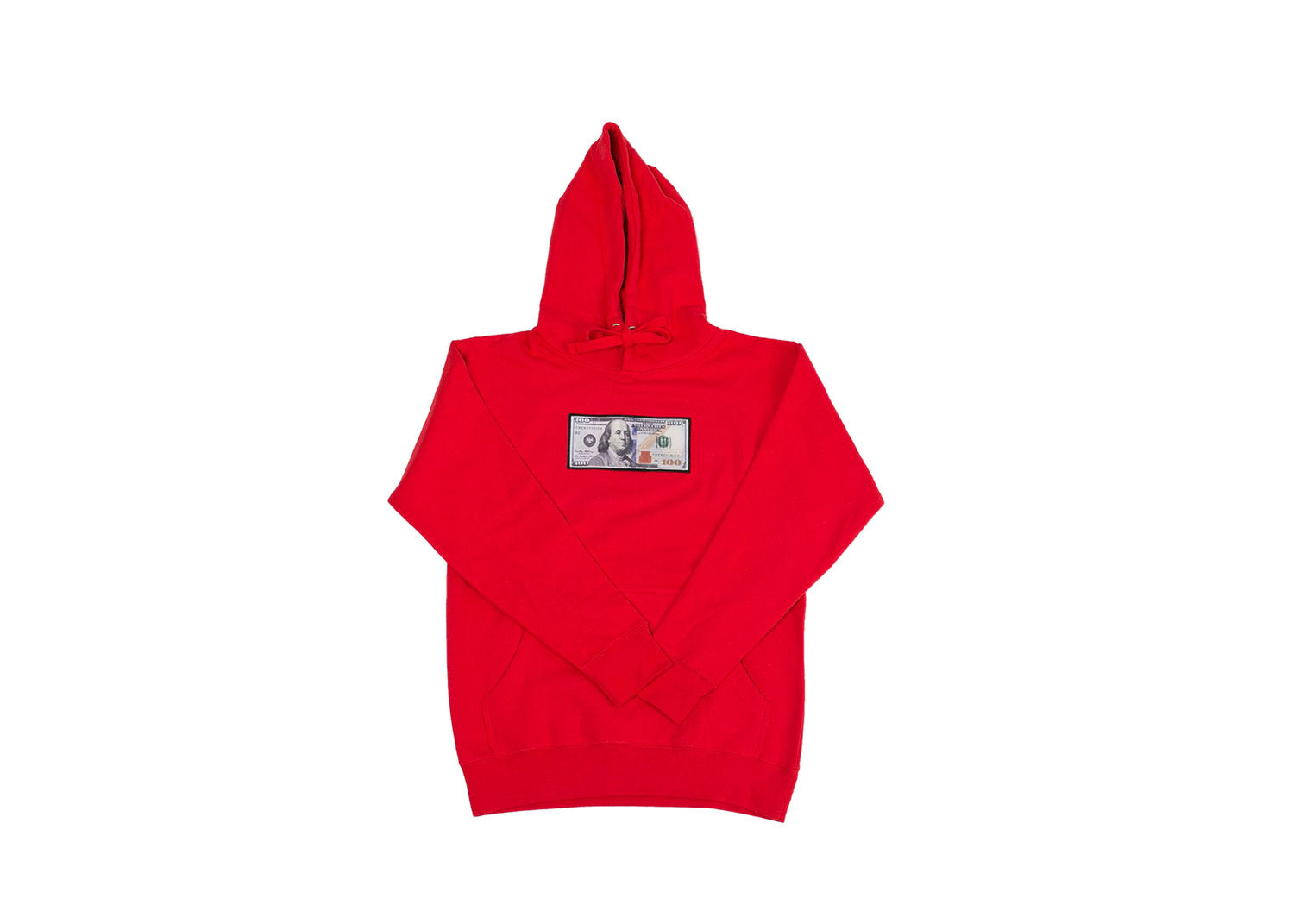 Red Hoodie with a $100 logo