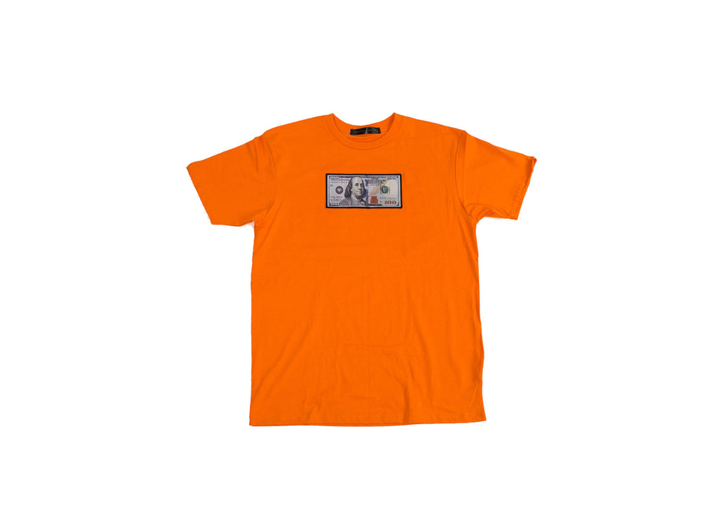 "Orange ""Blue Hundreds"" Tee by Twenty1Rich with $100 logo"