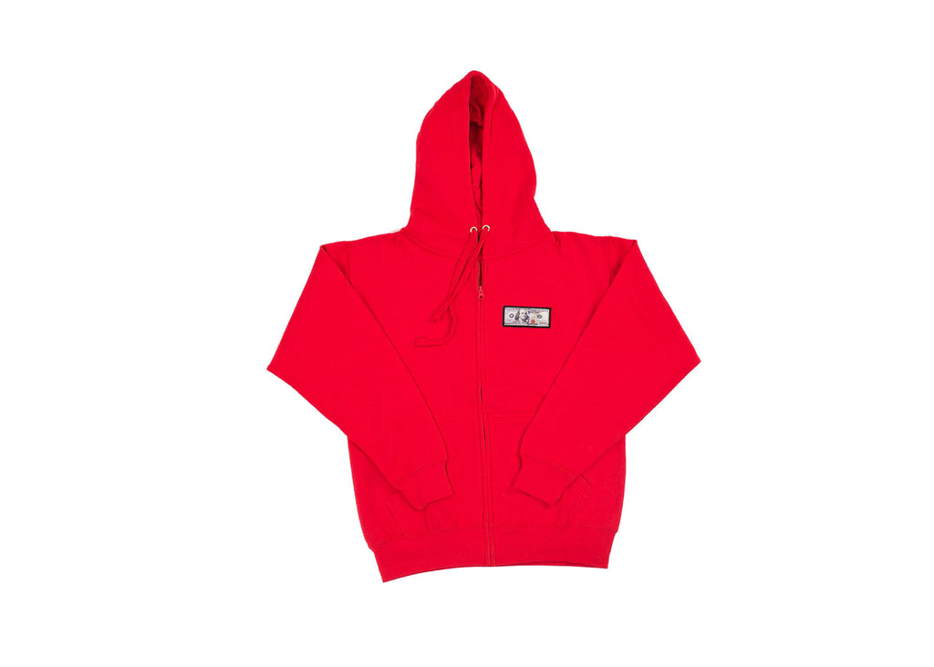 Red 'Blue Hundreds' Zip Up Hoodie by Twenty1Rich with a $100 logo