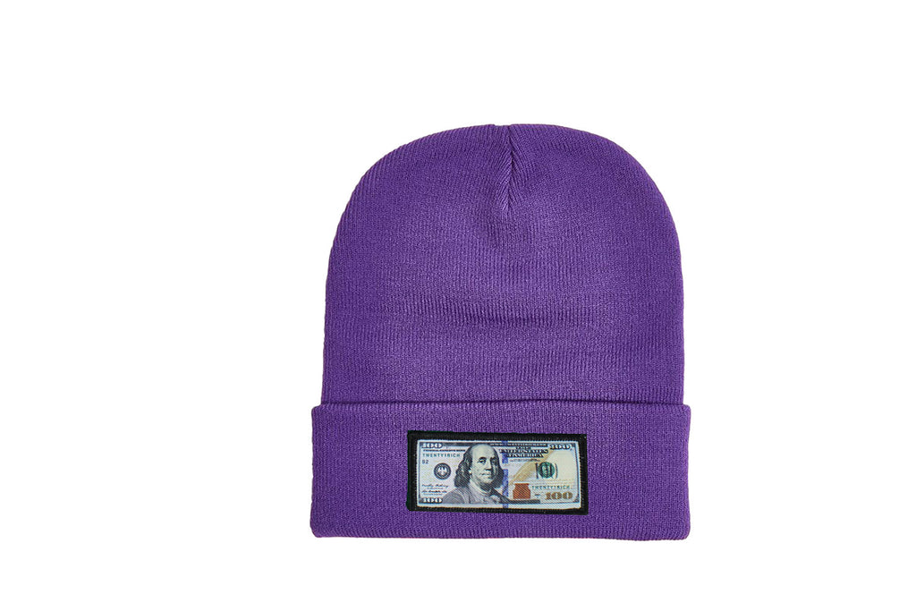 Purple comfy beanie with $100 logo on front