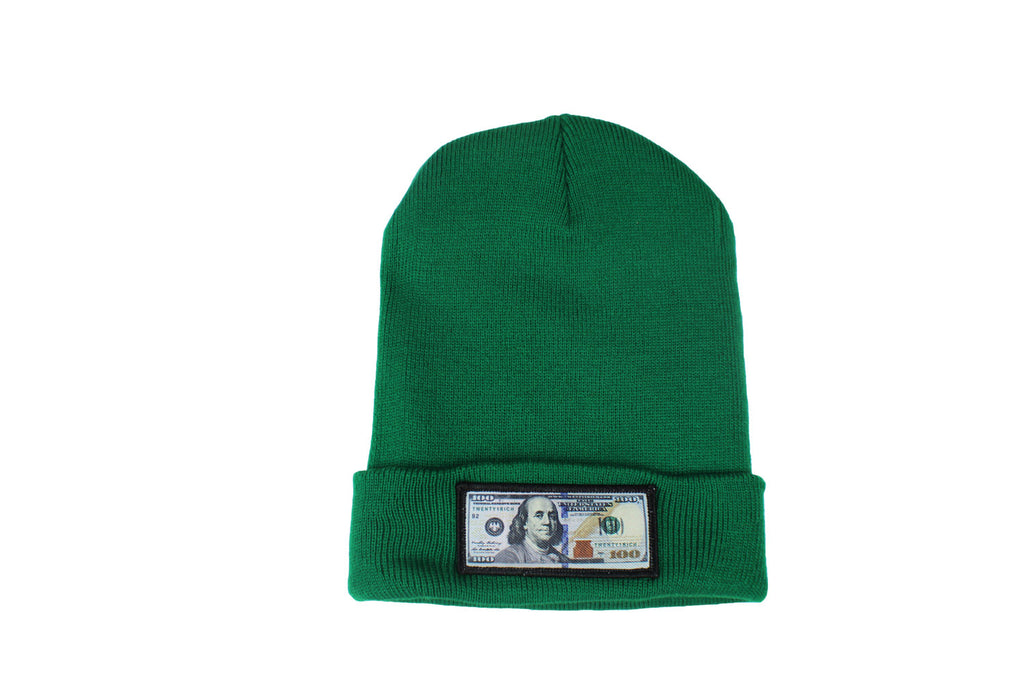 Green comfy beanie with $100 logo on front