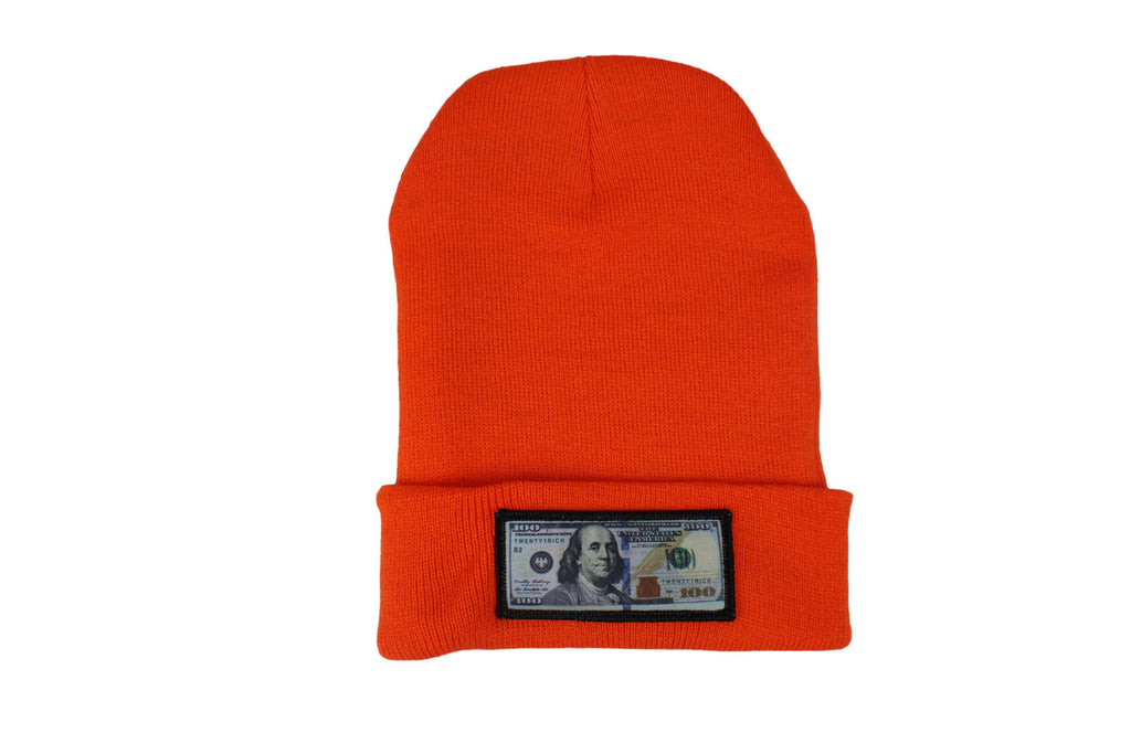 Orange comfy beanie with $100 logo on front