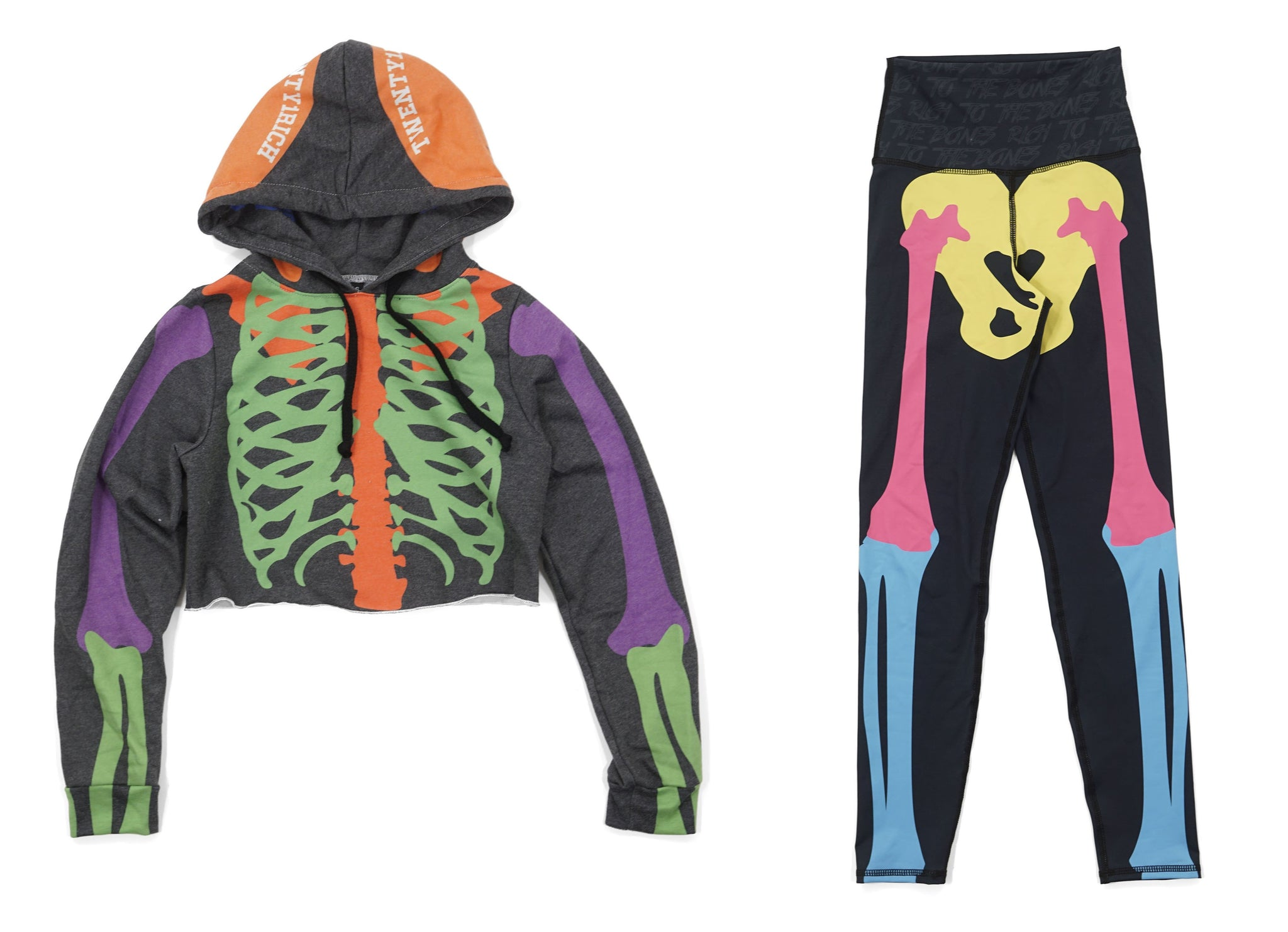 Women's Hoodie and Jogger set by Twenty1Rich with a x-ray skeleton print