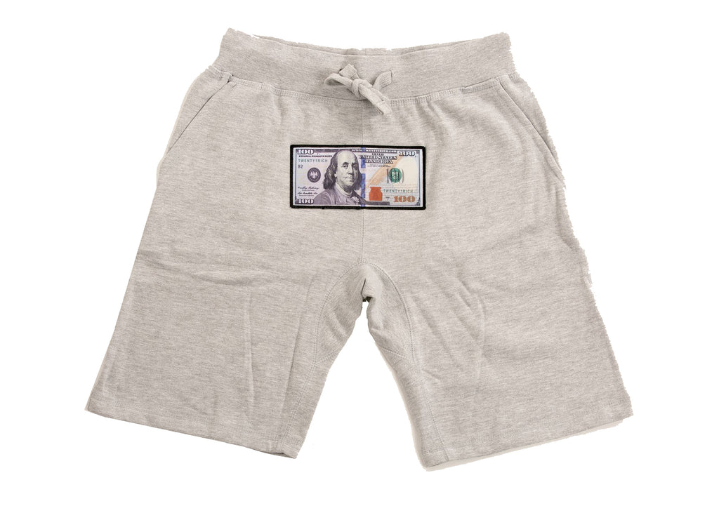 Grey Athletic Shorts by Twenty1Rich with a $100 logo