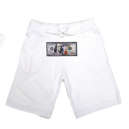 White Athletic Shorts by Twenty1Rich with a $100 logo